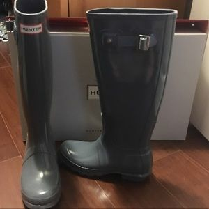 Gray Tall Hunter Boots